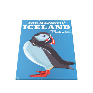 Majestic Iceland Puffin vintage travel poster Canvas Print