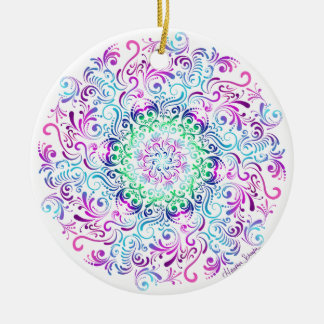 Majestic Kaleidoscope Mandala on White Christmas Ornament