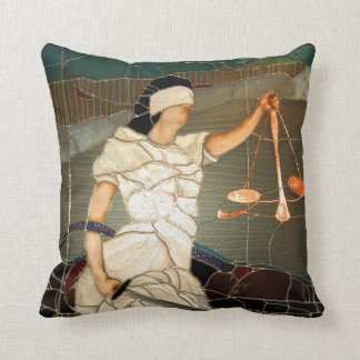 Majestic Lady Justice in Stained Glass Design Cushion