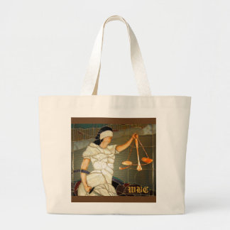 Majestic Lady Justice in Stained Glass Design Large Tote Bag