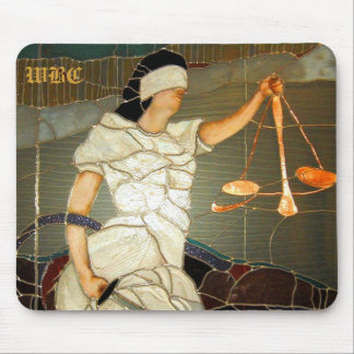 Majestic Lady Justice in Stained Glass Design Mouse Mat