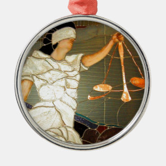 Majestic Lady Justice in Stained Glass Design Silver-Colored Round Decoration