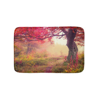 Majestic Landscape With Autumn Trees In Forest Bath Mat