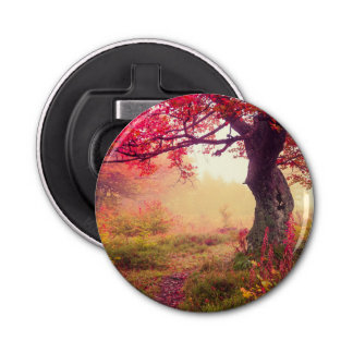 Majestic Landscape With Autumn Trees In Forest Bottle Opener