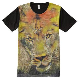 Majestic Lion Face Portrait Wildlife Art All-Over Print T-Shirt