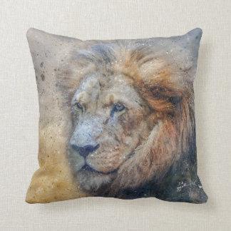 Majestic Lion Photography Modern Watercolor Cushion