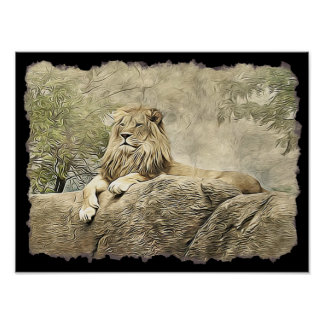 Majestic Lion sitting on a Cliff Poster