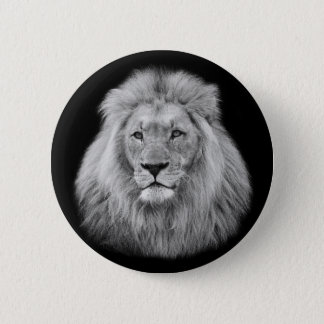 Majestic male lion black and white photo 6 cm round badge