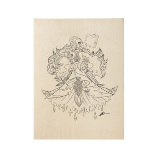 Majestic Mermaid Wood Slate Wood Poster