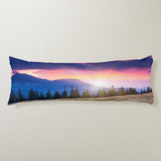 Majestic mountains landscape under morning sky body cushion