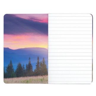 Majestic mountains landscape under morning sky journal