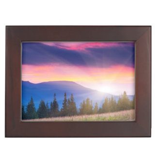 Majestic mountains landscape under morning sky keepsake box