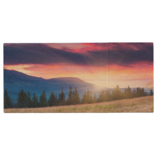 Majestic mountains landscape under morning sky wood USB 2.0 flash drive