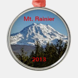 Majestic Mt. Rainier Silver-Colored Round Decoration