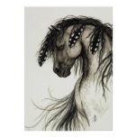 Majestic Mustang by BiHrLe Grey Horse Poster