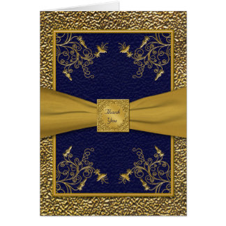 Majestic Navy and Gold Thank You Card