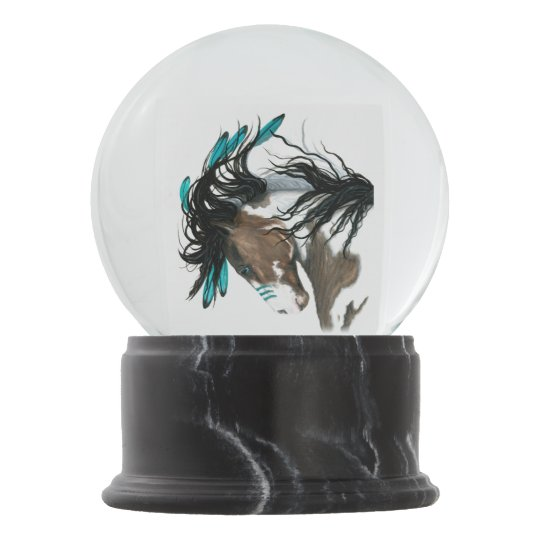 Majestic Pinto Horse Snow Globe by Bihrle