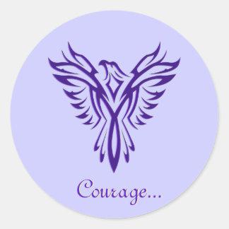 Majestic Purple Phoenix Rising envelope sealers Classic Round Sticker