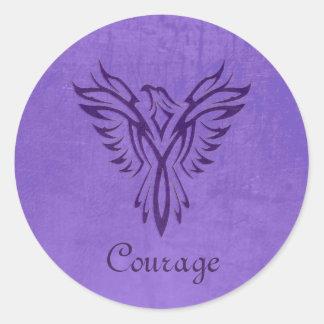 Majestic Purple Phoenix Rising, leather texture Classic Round Sticker