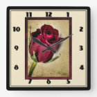 Majestic Red Roses on Brownish Background Square Wall Clock