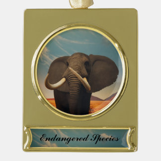 Majestic Stature Gold Plated Banner Ornament