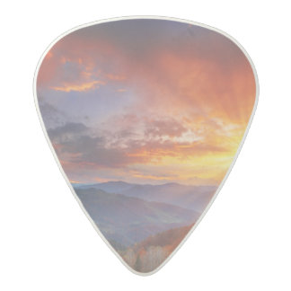 Majestic sunrise in the mountains landscape acetal guitar pick