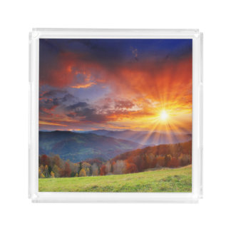 Majestic sunrise in the mountains landscape acrylic tray