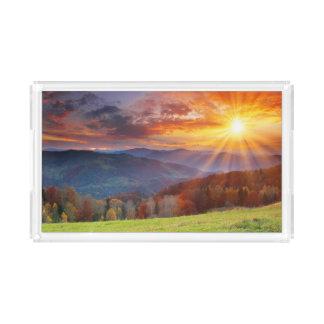 Majestic sunrise in the mountains landscape acrylic tray