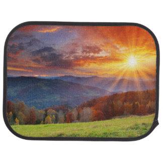Majestic sunrise in the mountains landscape car mat