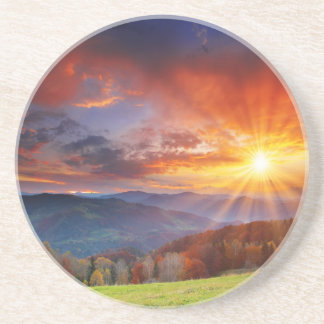 Majestic sunrise in the mountains landscape coaster