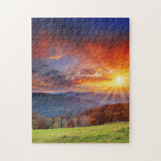 Majestic sunrise in the mountains landscape jigsaw puzzle
