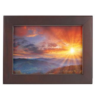 Majestic sunrise in the mountains landscape keepsake box