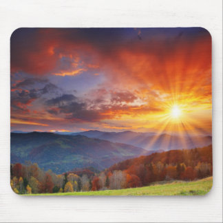 Majestic sunrise in the mountains landscape mouse mat