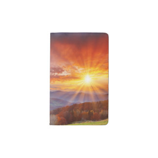 Majestic sunrise in the mountains landscape pocket moleskine notebook
