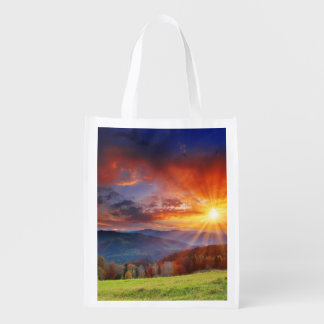 Majestic sunrise in the mountains landscape reusable grocery bag