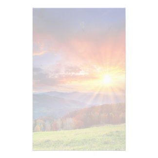 Majestic sunrise in the mountains landscape stationery