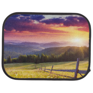 Majestic sunset in the mountains car mat
