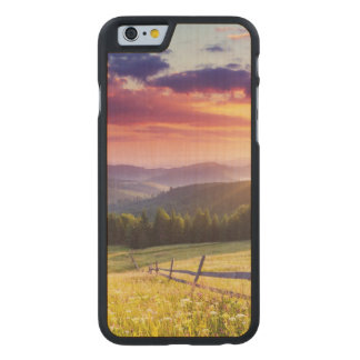 Majestic sunset in the mountains carved maple iPhone 6 case