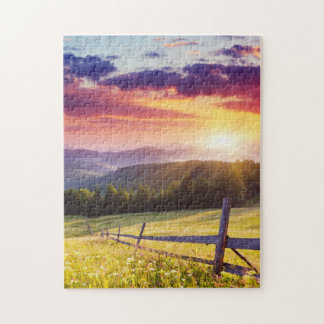 Majestic sunset in the mountains jigsaw puzzle
