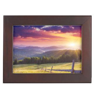 Majestic sunset in the mountains keepsake box
