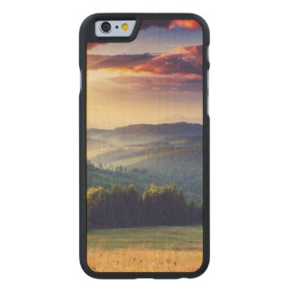 Majestic sunset in the mountains landscape 4 carved maple iPhone 6 case