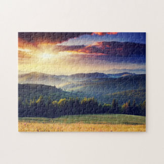 Majestic sunset in the mountains landscape 4 jigsaw puzzle