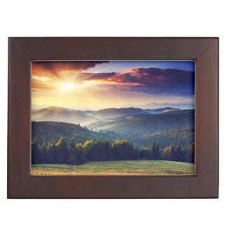 Majestic sunset in the mountains landscape 4 keepsake box