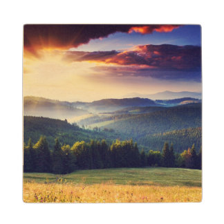 Majestic sunset in the mountains landscape 4 maple wood coaster