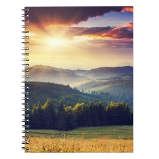 Majestic sunset in the mountains landscape 4 notebook