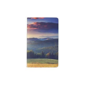 Majestic sunset in the mountains landscape 4 pocket moleskine notebook