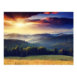 Majestic sunset in the mountains landscape 4 postcard