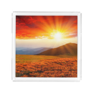 Majestic sunset in the mountains landscape 5 acrylic tray