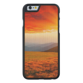 Majestic sunset in the mountains landscape 5 carved® maple iPhone 6 case