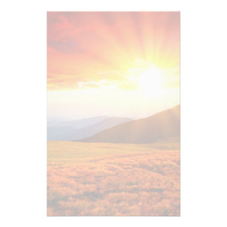 Majestic sunset in the mountains landscape 5 personalized stationery